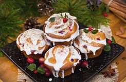 Christmas cakes with cranberries and almonds Stock Photo