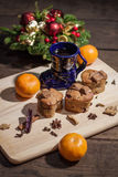 Christmas cakes. With hot wine and orages stock photo