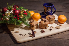 Christmas cakes. With hot wine and orages Royalty Free Stock Images