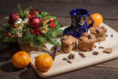 Christmas cakes. With hot wine and orages Royalty Free Stock Photos