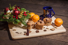 Christmas cakes. With hot wine and orages Royalty Free Stock Image