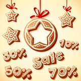 Christmas cakes sale discount illustration Royalty Free Stock Photos