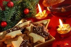 Christmas cakes and tea stock photo