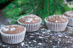 Christmas cakes on winter snowbound wooden background, fir tree Stock Photos
