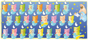 Christmas calendar. Advent calendar with numbers outlined to color stock illustration