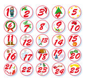 Christmas calendar. Advent calendar with numbers and  Christmas symbols Royalty Free Stock Images