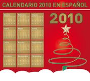 Christmas Calendar 2010 in Spanish. Christmas themed 2010 Calendar in  format. In Spanish Royalty Free Stock Images