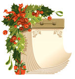 Christmas calendar. Christmas tear-off calendar with holly-berry and mistletoe Royalty Free Stock Image