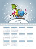 Christmas  calendar with cute sheep. Merry Christmas illustration with calendar 2015 Stock Photos