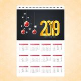 Christmas calendar 2019 design card with creative background vector royalty free illustration