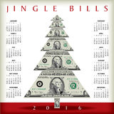 2016 Christmas calendar. With a dollar Christmas tree stock illustration