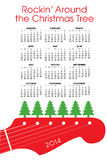 2014 Christmas calendar. 2014 calendar with guitar and text rockin around the Christmas tree royalty free illustration