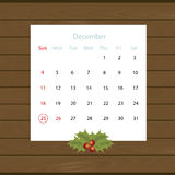 Christmas calendar hanging on the wall of wooden planks. Vector Royalty Free Stock Images