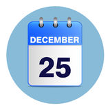 Christmas calendar icon in blue tones. Sheet Desk calendar in shades of blue. Date 25 December. Vector illustration of Christmas icon. Square location Stock Photos