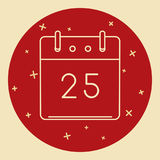Christmas calendar icon in thin line style Stock Images