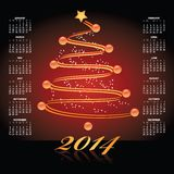 2014 Christmas calendar. Illustration of decorative 2014 calendar with spiraling Christmas tree Royalty Free Stock Images