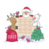 Christmas calendar 2017. Calendar 2017 with the image of funny animals and  Santa Claus Royalty Free Stock Photography
