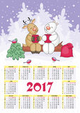 Christmas calendar 2017. Calendar for 2017 with the image of funny animals and Christmas tree Royalty Free Stock Images