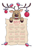 Christmas calendar 2017. Calendar 2017  with the image of funny deer Royalty Free Stock Image