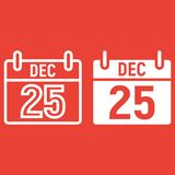 Christmas calendar line and glyph icon,. New year and Christmas, xmas sign vector graphics, a linear pattern on a red background, eps 10 Stock Photography