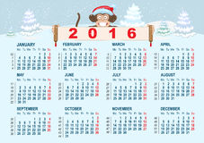 Christmas calendar. Monkey in santa hat symbol 2016 year holding banner Royalty Free Stock Photography