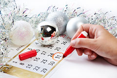 Christmas calendar and prepare for the New Year Stock Image