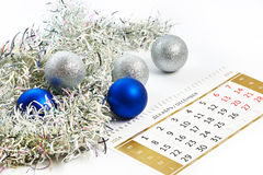 Christmas calendar and prepare for the New Year isolated Royalty Free Stock Photo