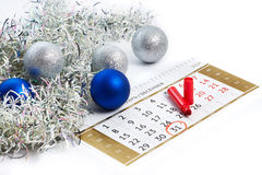 Christmas calendar and prepare for New Year your text Royalty Free Stock Photo