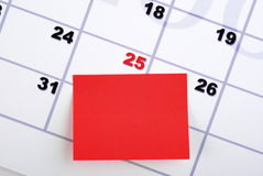 Christmas Calendar and Sticky Note Stock Image