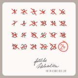 Christmas calendar - template for christmas design with german text Stock Photos