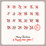 Christmas calendar - template for christmas design. Vector illustration Stock Images