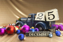 Christmas calendar with 25th December on wooden blocks Stock Photo