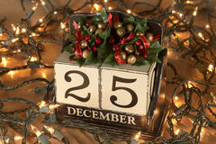 Christmas calendar with 25th December on wooden blocks Royalty Free Stock Image