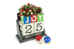 Christmas calendar with 25th December on wooden blocks Royalty Free Stock Photos