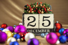 Christmas calendar with 25th December on wooden blocks Stock Photos