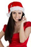Christmas Call Center Girl Stock Photo