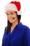 Christmas call centre worker Stock Images