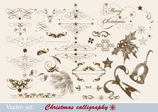 Christmas calligraphic design elements Stock Images