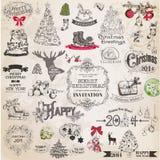 Christmas Calligraphic Design Elements Stock Photography