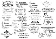 Christmas calligraphic lettering collection Stock Image