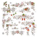 Christmas calligraphic page decorations and dividers. Royalty Free Stock Image