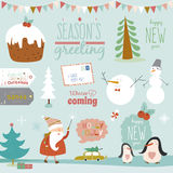Christmas calligraphic wishes and winter elements. Merry Christmas And Happy New Year calligraphic and typographic wishes and winter elements. Greeting stylish Stock Photography