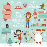 Christmas calligraphic wishes and winter elements Stock Images