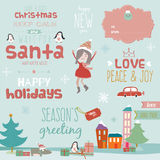 Christmas calligraphic wishes and winter elements Stock Photography