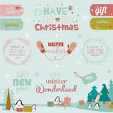 Christmas calligraphic wishes and winter elements Royalty Free Stock Photos