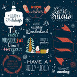Christmas calligraphic wishes and winter elements Royalty Free Stock Photography