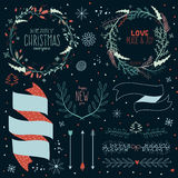Christmas calligraphic wishes and winter elements Stock Photo