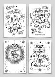 Christmas calligraphy greeting cards set. Greeting cards bundle in black  on white background. A unique set of calligraphic greeting cards and flyers for Stock Image