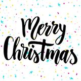 Christmas calligraphy. Handwriting script lettering for greeting card. Vector design for logo, emblem, banner Stock Images