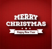 Christmas calligraphy on knitted pattern Stock Image
